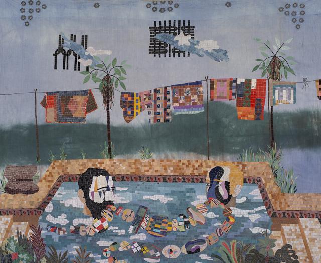 Chiachio & Giannone, 'Criollos en la piscina', 2018, Textile Arts, Mosaico textil, Ruth Benzacar Galería de Arte