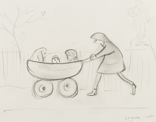 Laurence Stephen Lowry, 'Girl pushing three children in a pram', 1962, Print, Pencil on paper, Forum Auctions