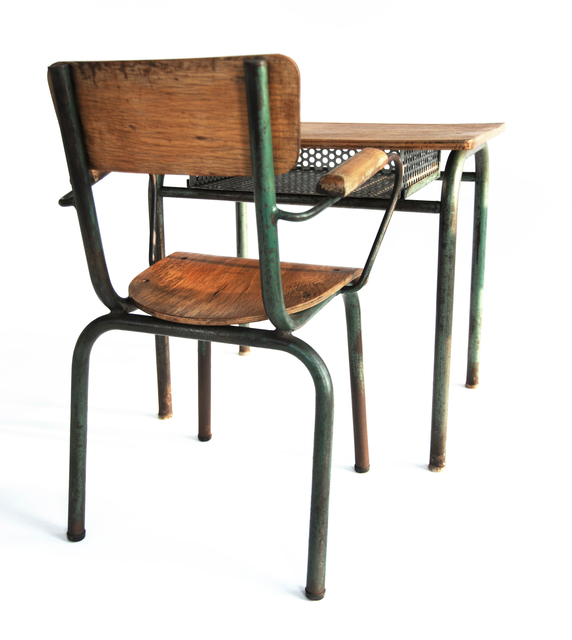 , 'French Industrial Desk & Chair,' 1950-1959, kinder MODERN