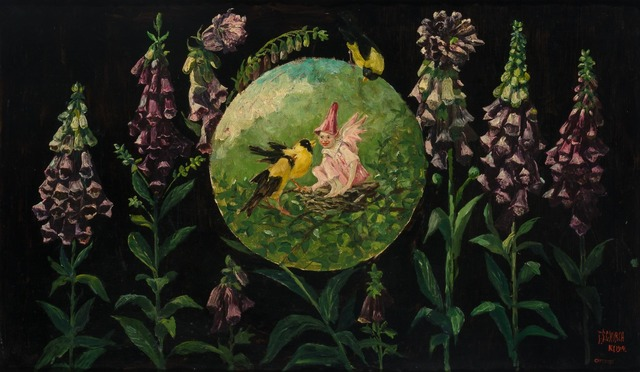 Frederick Stuart Church, 'Fox Gloves, Yellow Birds and Trouble', 1918, Painting, Oil on canvas, Doyle