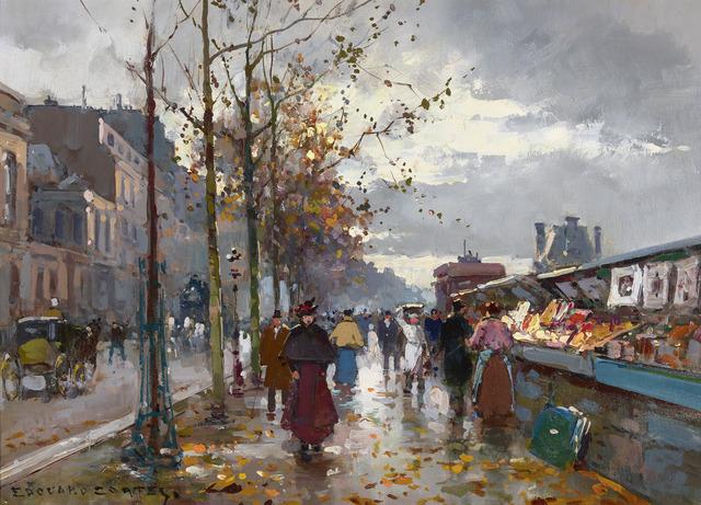 Edouard Léon Cortès, 'Bouquinistes (Parisian Booksellers)', 1919-2020, Painting, Oil on canvas,  M.S. Rau