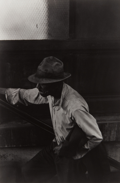 Roy DeCarava, 'Man Coming Up Subway Stairs', 1952, Photography, Gelatin silver print, printed later, Phillips