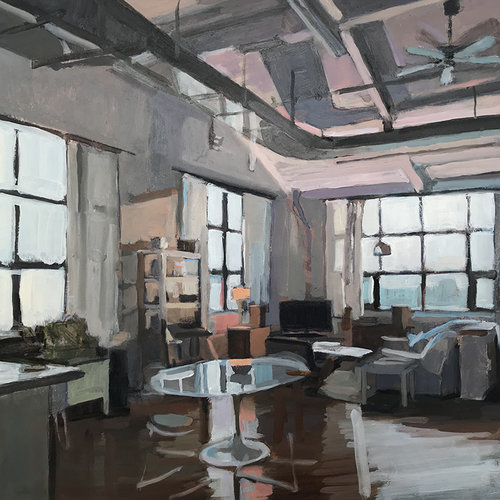 Aaron Hauck, 'Evening Living Room', 2018, Painting, Oil on panel, Deep Space Gallery