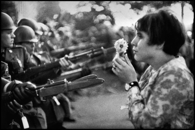 , 'An American woman confronts the American National Guard outside the Pentagon during the 1967 anti-Vietnam march. Washington D.C., ,' 1967, Milk Gallery