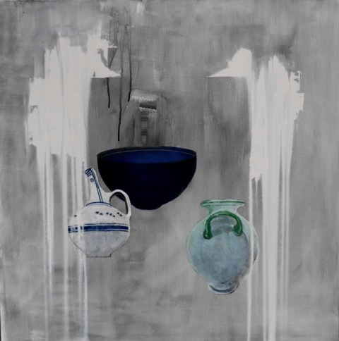 Christina Penrose, 'Ancient Vessels in grey & white', 2017, Painting, Oil & Mixed Media, InLiquid