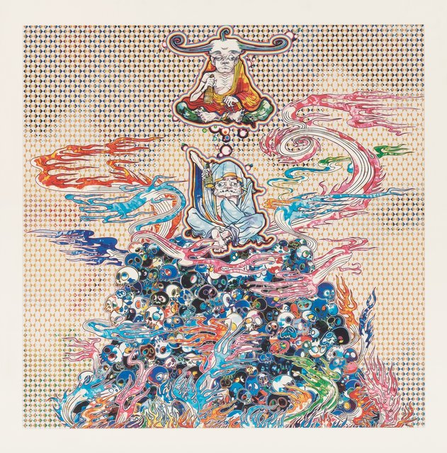 Takashi Murakami, '2 Arhats Meditating Amid the Hellfire of the Mound of the Dead', 2013, Print, Offset lithograph in colors on smooth wove paper, Heritage Auctions