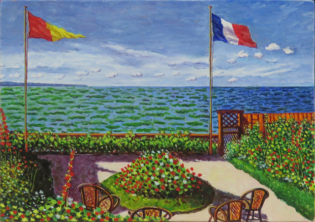 """, 'De la serie Desnudos (El eslabón perdido). Claude Monet, """"Jardin de Sainte-Adresse"""",' 2016, Fernando Pradilla/El Museo"""