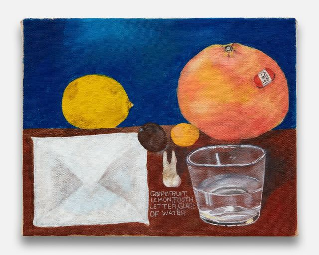 , 'Grapefruit, Lemon, Tooth, Letter, Glass of Water,' 2018, Almine Rech