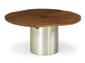 Custom dining table top on associated base