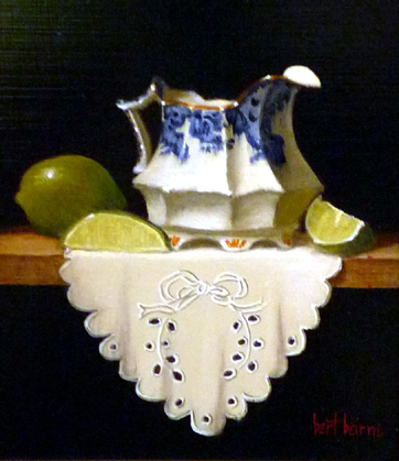 Bert Beirne, 'Argyle Creamer, Limes, and Cloth (dimensions are with frame)', Zenith Gallery