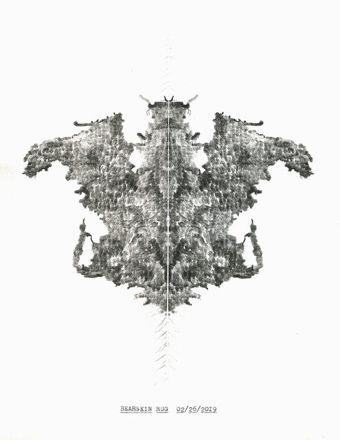 """, '""""Bearskin Rug"""" in the series """"Typewriter Drawings"""",' 2019, Catharine Clark Gallery"""
