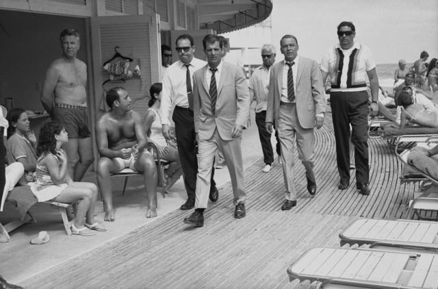 Terry O'Neill, 'Frank Sinatra with Body Double and security team,  Boardwalk, Miami Beach', 1967, Gallery 270