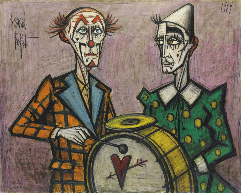 Bernard Buffet Deux Clowns La Grosse Caisse 1989 Available  # Buffet Blanc Style New York