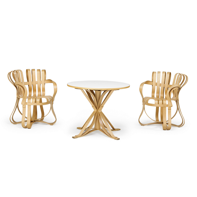 Frank Gehry, 'Two Cross Check Chairs And One Table, USA', 1993, Rago/Wright