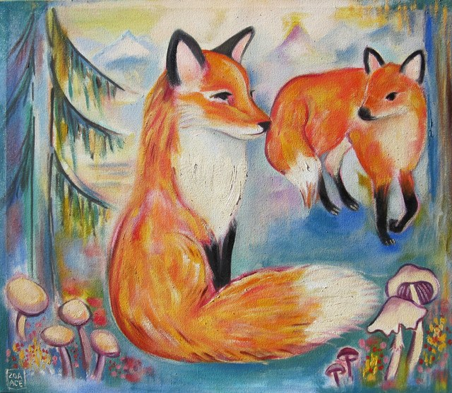 Zoa Ace, 'Flora & Fauna (2 Foxes)', 2018, Abend Gallery