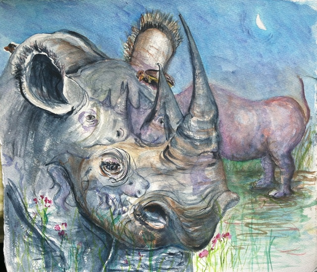 , 'Black Rhinos at Evening Watering Hole,' 2012, Art Collection NYC