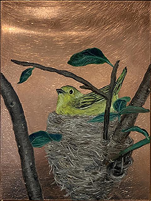 Darren Johnson, 'Yellow Warbler Nest', 2018, Painting, Oil on copper, Priscilla Fowler Fine Art
