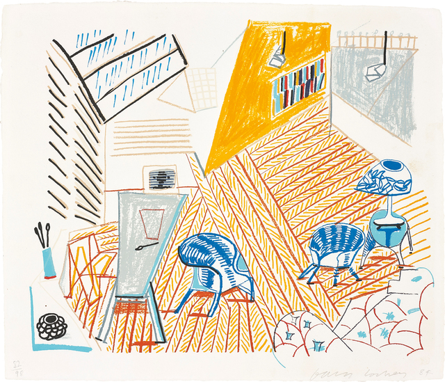 David Hockney, 'Pembroke Studio with Blue Chairs and Lamp, from The Moving Focus Series', 1985, Phillips