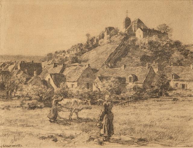 , 'Paysannes et Vaches Devant le Village de Mont-Saint-Père,' ca. 1887, Taylor   Graham