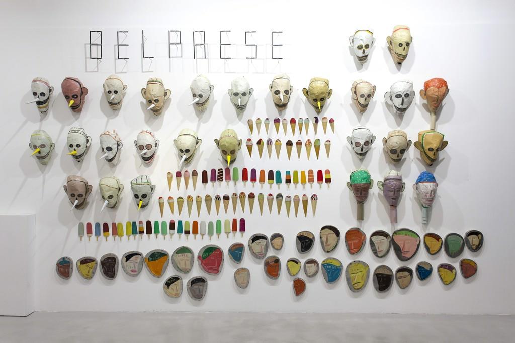 Francesco Bocchini, Bel Paese, 2009, olio su lamiera di ferro, installazione a parete, 330x500 cm