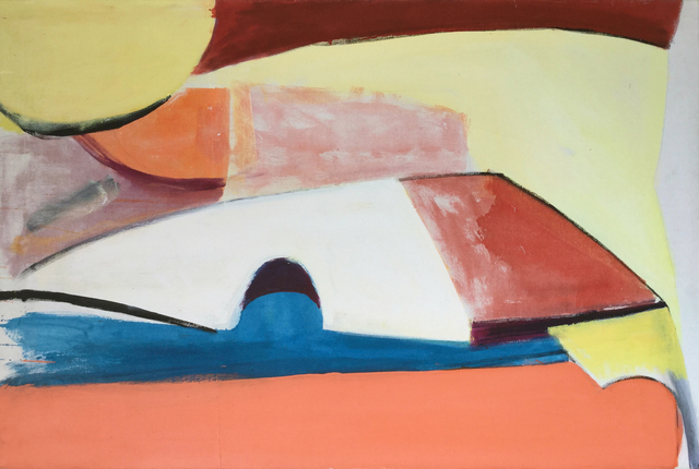 , 'Blue and Peach Abstract,' 1960-1969, Modern West Fine Art