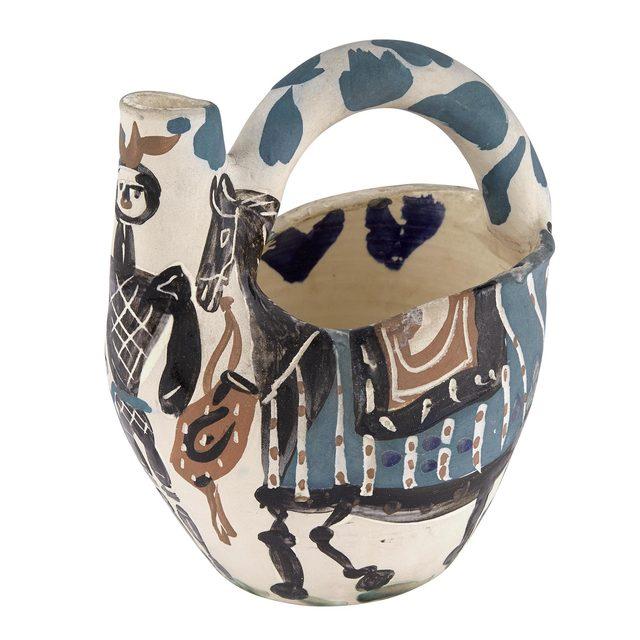 Pablo Picasso, 'CAVALIER ET CHEVAL (A.R. 137)', 1952, Design/Decorative Art, Painted and partially glazed white ceramic pitcher, Doyle