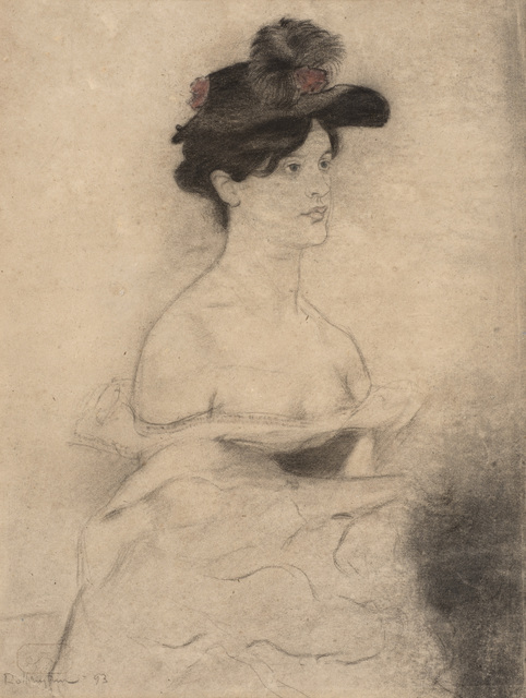 William Rothenstein, 'Woman in a Black Hat', 1893, Drawing, Collage or other Work on Paper, Chalk and pastel on paper, Ben Uri Gallery and Museum
