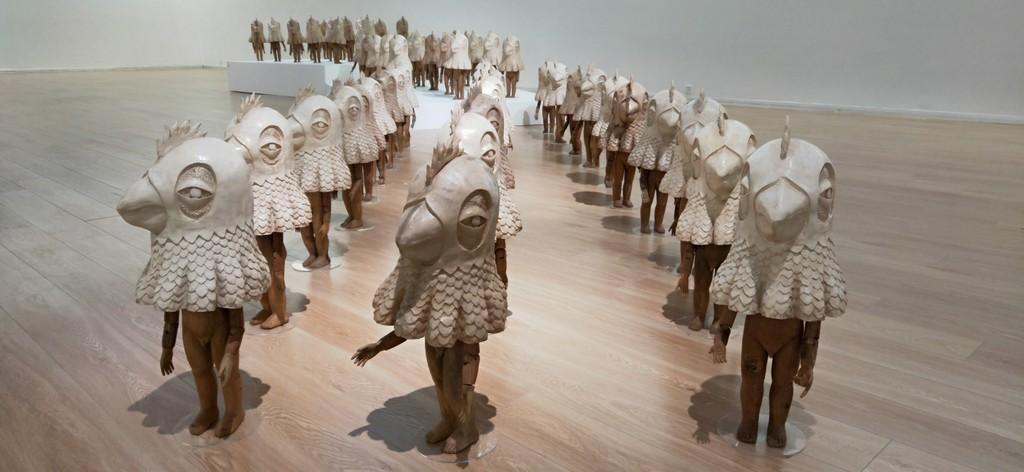 Rodel Tapaya, Myths and Truths. installation view. Tang Contemporary Art, Beijing. November 3 - December 15, 2018.