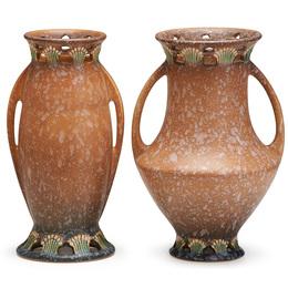 """Two tan 9"""" Ferella vases, Zanesville, OH"""