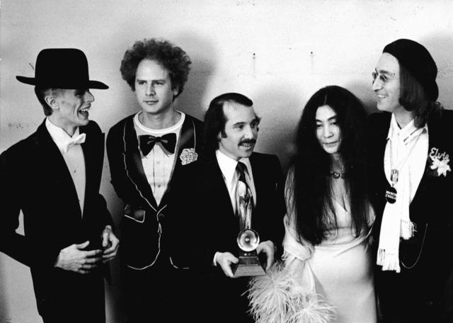 Ron Galella   David Bowie, Art Garfunkel, Paul Simon, Yoko Ono, and John  Lennon at the Grammy Awards, New York (1975)   Available for Sale   Artsy