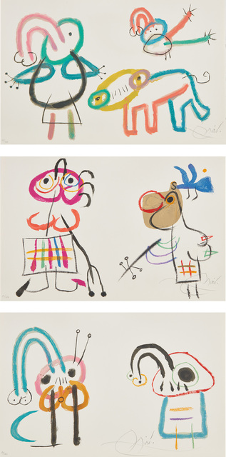 Joan Miró, 'L'Enfance d'Ubu (Ubu's Childhood): three signed plates', 1975, Phillips