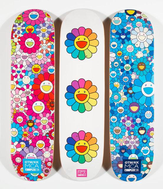 Takashi Murakami, 'Multi Flower 8.0 Skate Decks (Blue, Pink, and White) (three works)', 2017, Heritage Auctions