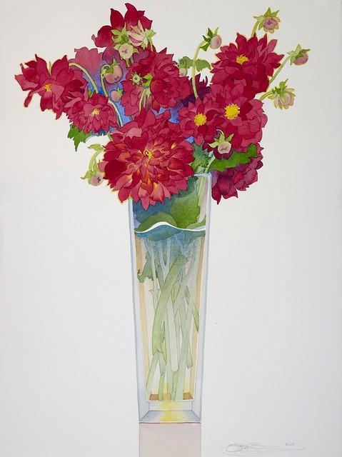 Gary Bukovnik, 'Red Dahlias in a Tall Vase', 2019, The Bonfoey Gallery