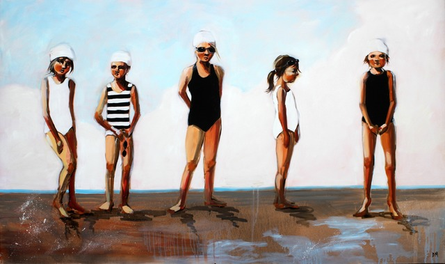 ", '""Toe the Line"" Oil painting of five girls lined up in Black and White Bathing Suits,' 2010-2018, Eisenhauer Gallery"