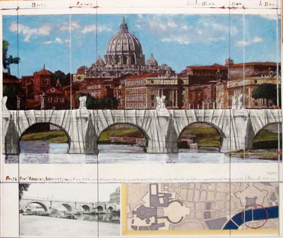 Christo, 'Ponte Sant'Angelo, Wrapped, Project for Rome', 2011, Print, Screenprint in colours with collage of fabric and twine, with felt-pen and pencil additions, and semi-transparent polyester-foil with masking tape, on wove paper mounted to card, Hamilton-Selway Fine Art