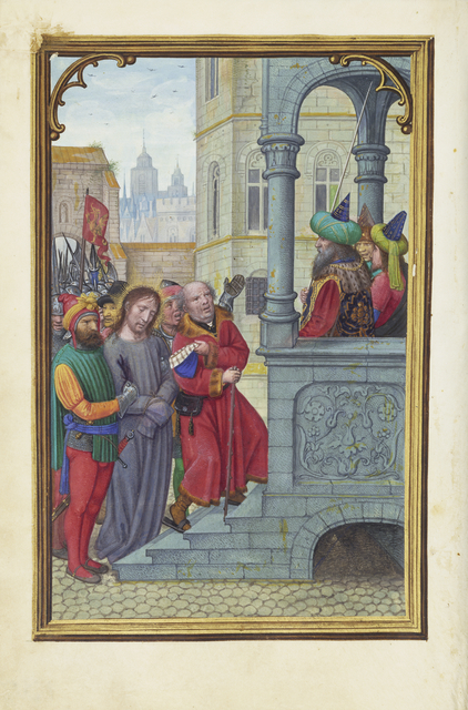 Simon Bening, 'Christ before Pilate', 1525-1530, Tempera colors, gold paint, and gold leaf on parchment, J. Paul Getty Museum