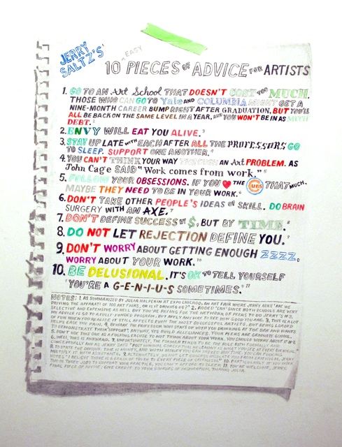 William Powhida, 'Jerry Saltz's 10 Pieces of Advice for Artists', 2012, Postmasters Gallery