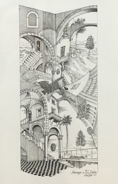 Octave Marsal, 'Homage to Escher', 2018, Drawing, Collage or other Work on Paper, Felt-tip pen on paper, Galerie Bessières