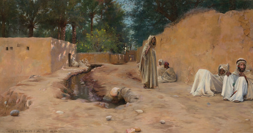 Figures Resting in a Dusty Street