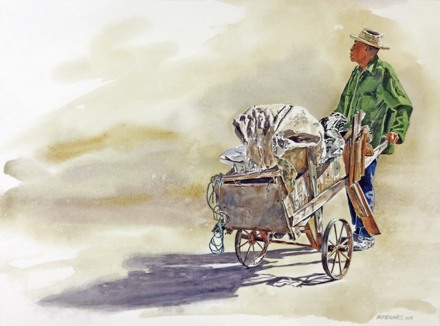 Tony Armendariz, 'Pushcart Man', 2018, Drawing, Collage or other Work on Paper, Watercolor on paper, 33 Contemporary