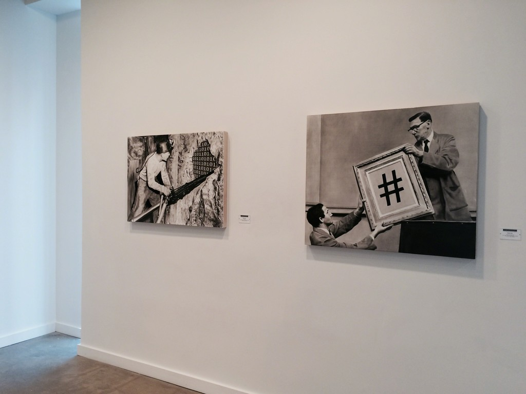 """Data Mining"" 2014 (left) and ""Next Item For Bid"" 2014 (right), black oil and white gesso on wood panel"