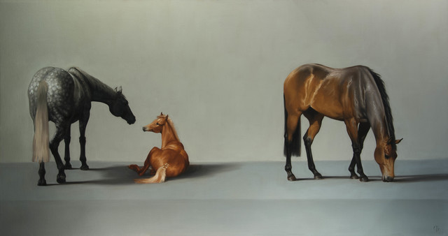 , '7. Thoroughbred Brood Mares and Foal,' 2016, Sladmore Contemporary