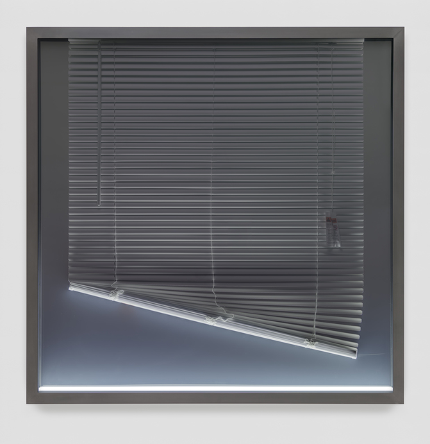 Josephine Meckseper, 'Submission', 2015, Installation, Acrylic sheeting, mirror polished stainless steel, PVC blinds, paper, LED light, blackened, patinated, aluminium frame, Timothy Taylor