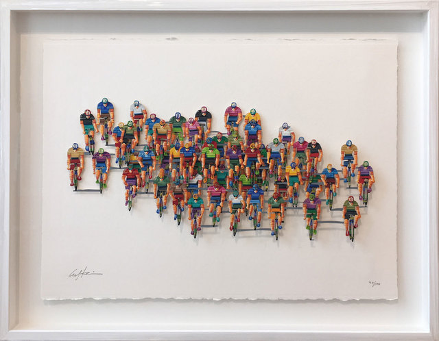 David Gerstein, 'Tour de France (horizontal)', 2007, Drawing, Collage or other Work on Paper, 3D-Papercut on 3 layers, individual hand painted, Galerie Kellermann