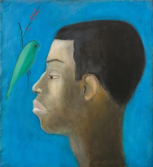 Craigie Aitchison CBE RSA RA, 'Alan McNaught with Bird', 1970, Painting, Oil on canvas, Piano Nobile