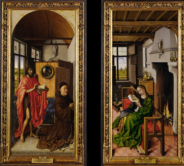 Robert Campin, 'Von Werl Altarpiece: John the Baptist and the Franciscan Theologian Heinrich von Werl, and Saint Barbara', 1438, Painting, Oil on wood, Erich Lessing Culture and Fine Arts Archive