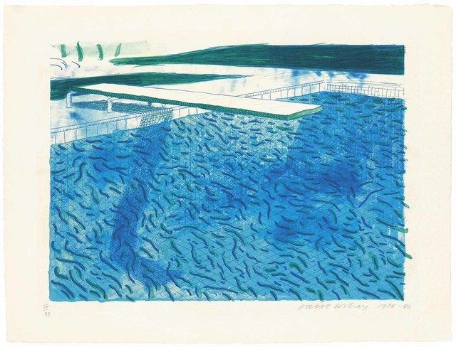 David Hockney, 'Lithograph of water made of thick and thin lines, a green wash, a light blue wash, and a dark blue wash', 1978-80, Christie's