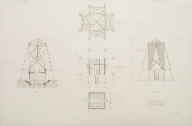 , 'Folly for Vitners in the Napa Valley, Construction Drawings,' 1976, Edward Cella Art and Architecture