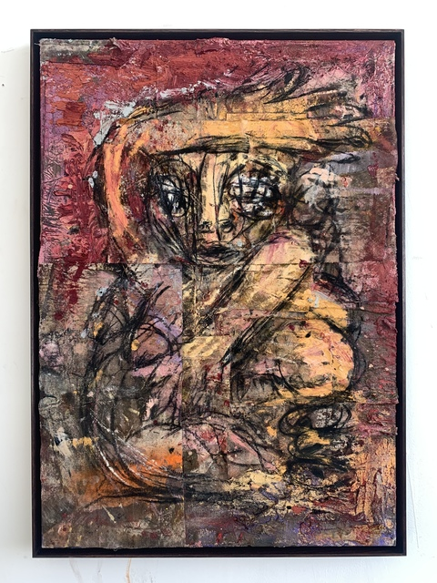Daniel Crews-Chubb, 'Belfie of Willendorf (Red)', 2019, Painting, Oil, oil bar, charcoal, ink, pastel, sand, spray paint, coarse pumice gel and collaged fabrics on canvas., Vigo Gallery