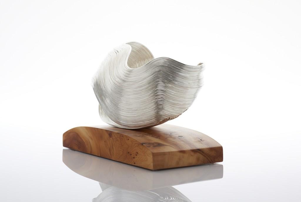 Nan Nan Liu , Silver Sculpture 2015 Sterling silver, fine silver, yew H32 x W28 x D 22cm